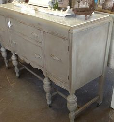 Shabby Chic Chalk Painted buffet tables | French Linen Chalk Paint, had waxed finish - new marble top - Drop ...
