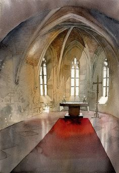 Ghotic interior in watercolor - video tutorial by GreeGW.deviantart.com on @DeviantArt