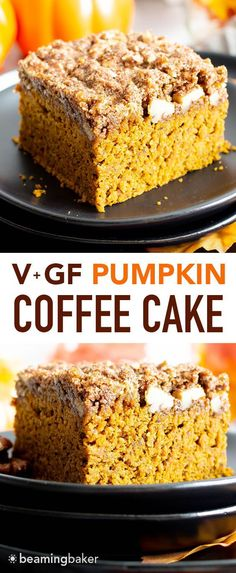 Easy Gluten Free Vegan Pumpkin Coffee Cake Recipe (V, GF): a thick layer of moist pumpkin coffee cake with a cinnamon sweet, buttery-rich topping. Made with healthy, whole ingredients. Vegan Coffee Cakes, Pumpkin Coffee Cakes, Gluten Free Coffee Cake, Patisserie Sans Gluten, Dessert Sans Gluten, Vegan Treats, Vegan Desserts, Dessert Recipes, Cake Recipes Vegan