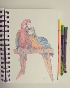 #birds , #puntillismo, #dots, #drawing, #art, #colours, #animals, #kiss Fancy Parakeet, Types Of Clowns, Aquarium Sand, Cockatiel Cage, 30 Day Drawing Challenge, Parrot Pet, Art Drawings, Drawing Art, Floral Stripe