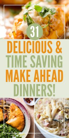 31 Make ahead dinners This list of meals to prep in advance for dinner is awesome! I can't wait to try these dishes out and save myself cooking time in the evenings for an entire month! Cheap Clean Eating, Eating Fast, Clean Eating Snacks, Healthy Eating, Healthy Sweet Snacks, Healthy Meal Prep, Healthy Recipes, Sweets Recipes, Easy Recipes