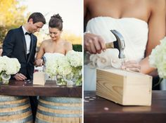 New tradition ~ sealing a wooden box with a special bottle of wine to enjoy on your first year anniversary! So sweet!!!