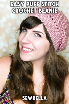 This slouchy beanie is a fun project that features the puff stitch! It's really easy and creates a pretty texture. The free crochet pattern is quick and easy with my video tutorial. Puff Stitch Crochet, Easy Crochet Hat, Crochet Headband Pattern, Free Crochet, Easy Crochet Stitches, Crochet Headbands, Easy Crochet Projects, Tutorial Crochet, Fun Projects