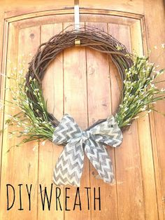 Easiest DIY Wreath could be for fall or spring depending on what flowers you put with it