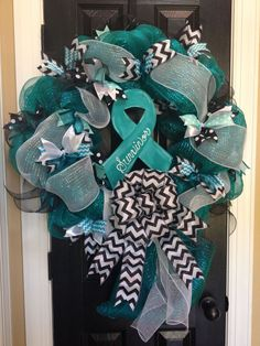 Ovarian cancer survivor mesh wreath by TJordans. See if Charlotte will make one of these for the raffle I Hate Cancer, Beat Cancer, Ovarian Cancer Awareness, Cervical Cancer, Thyroid Cancer, Cancer Fighter, Cancer Support, Garlands