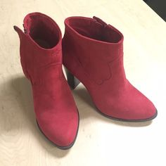 """Red velvet ankle boots Worn once, like new condition. About 2.5"""" heels. Very classy. Zippers on sides Forever 21 Shoes Ankle Boots & Booties"""