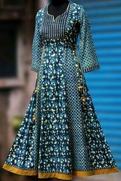 a beautiful, elegant long anarkali that& perfectly fitted till the hips and flares at the base. the anarkali has subtle hand embroidery with sequins in antiq Salwar Designs, Kurti Neck Designs, Kurta Designs Women, Kurti Designs Party Wear, Blouse Designs, Kurta Patterns, Dress Patterns, Indian Dresses, Indian Outfits