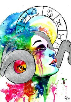Zodiac Sign Aries. Art by Gabi Xavier