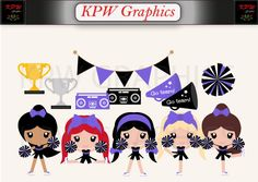 Purple and Black Cheerleader Clipart in PNG Format, Personal & Small Commercial use Cheerleader Clipart, Black Cheerleaders, Purple And Black, Teal, School Projects, Cheerleading, Clip Art, Scrapbook, Invitations
