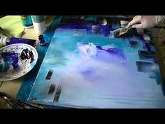 ▶ Acrylic Speed Painting Acrylmalerei: Spachteln und Blüten Sabine Belz - YouTube