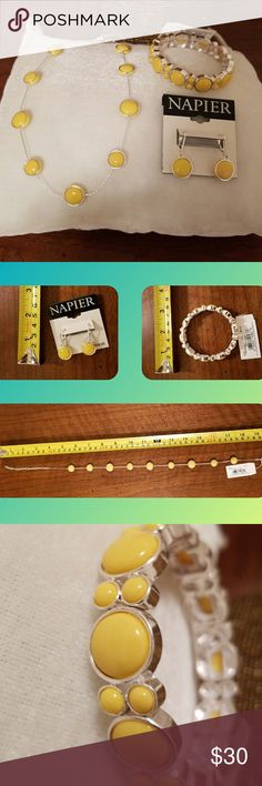 🌟NWT 3 Pc Yellow Napier Set 3 Pc (Necklace, Bracelet, Earrings) Napier  Jewelry Set.  Yellow with Silver.  🌟🌟🌟🌟🌟🌟🌟🌟🌟🌟  Offers welcome.  Bundle and save.  Smoke/Pet Free Home   Thank you for stopping by my closet.  Let me  know if you have any questions.  🎵🎢♥️ Napier Jewelry Necklaces