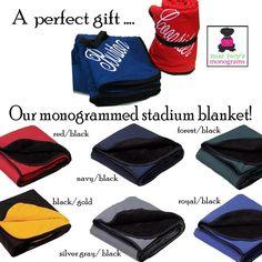 perfect gift for the new couple!  FLEECE/NYLON Stadium Blanket - 6 colors - Miss Lucy's Monograms
