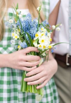 spring Flowers and green gingham. Spring Is Here, Hello Spring, Spring Time, Spring 2014, Spring Bouquet, Spring Flowers, Fresh Flowers, Flower Power, My Flower