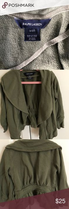 Ralph Lauren Girls draped cardigan, size3T Very lightly used Girls Ralph Lauren draped cardigan, fathered in the back. So cute on. Ralph Lauren Shirts & Tops Sweatshirts & Hoodies