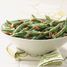 Green Beans with Pecans Recipe - Taste of Home - a little extensive, not a everyday recipe