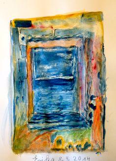 Blick durchs Fenster - Aquarell - Erika
