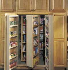 Tall Multi-Storage Pantry from Merillat cabinets.. they have quite a few i like... not sure how i can fit it all in.. lol