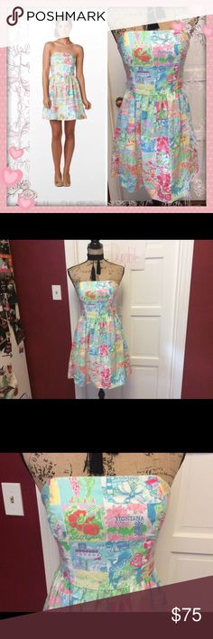 👗🦉Lilly Pulitzer Lottie State Of mind Dress 🦉👗 Absolutely gorgeous Lilly Pulitzer Lottie State Of mind Strapless Dress in excellent lightly used condition   Cotton & polyester with cotton lining   Bust measures approx 15-16 inches across laying flat  Waist measures approx 13 1/2-14 inches across laying flat  Approx 27 inches Long Lilly Pulitzer Dresses Strapless