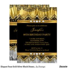 Elegant Faux Gold Silver Black Diamond Invitation Elegant Faux Gold lace Silk and Silver Black Diamond Invite for Birthday Party Celebration. All Occasions Party Events. Customize with your own details and age Custom invitations. Fun birthday party invites and ideas .  #invitations #birthdayparty
