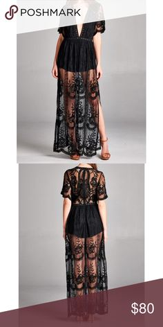 JUST IN • Black Lace Maxi Dress Beautiful see through lace maxi dress with attached romper underneath. Perfect for summer events. Also available in yellow on a separate listing.   •100% Polyester •Will post measurements 3/25  ❌No trades ❌Poshmark Transactions Only ❌No asking for the lowest price Dresses Maxi