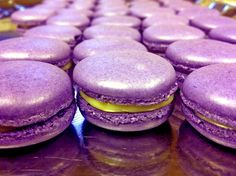 purple and gold macarons