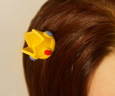 Super Mario Bros. Themed Bobby Pins Polymer Clay Princess Peach Crown SMB