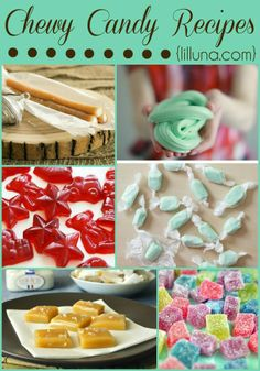 Chewy Candy Recipes that all look SO delicious and fun to Homemade Sweets, Homemade Candies, Homemade Candy Recipes, Christmas Candy, Christmas Treats, Home Made Candy, Chewy Candy, Sugar Candy, Candy Making