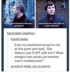 Watson flirting with Sherlock