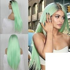 Kylie Jenner Wig Mint Green Ombre Long Straight Hair Halloween Cosplay Fairy New #KylieJennerWig