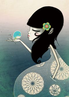 Lady and bird by Marie Breuer, via Behance
