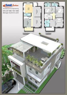 Discover thousands of images about VH 1005 Komnit Rachna Houses - Komnit Design 2 Storey House Design, Duplex House Design, Duplex House Plans, House Front Design, Bedroom House Plans, Small House Design, Dream House Plans, Modern House Plans, Small House Plans