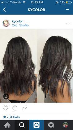 charcoal and ash tones on dark hair! balayge