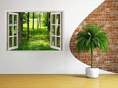 "Amazon.com: Removable Wall Decals - Huge Vinyl Mural - 3D Window view Stickers - Large Nature Poster 33.5"" X 45"" - Wall Art Home Decor - New Wallpapers for Walls - Mural Wall Art - Beach Wall Decor: Home & Kitchen"