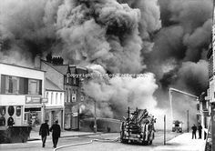 Remember walking to school and seeing the devastation :/ Bangor, Co Down, N Ireland, ablaze after 15 Provisional IRA bombs devastated the town centre. Bangor Northern Ireland, Northern Ireland Troubles, World Conflicts, Irish American, War Photography, Republic Of Ireland, Old City, Belfast, Great Britain