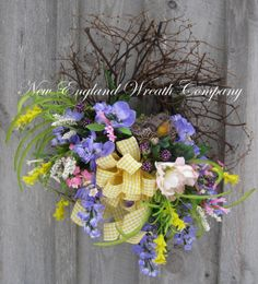 Spring Wreath Easter Wreath Bird Decor by NewEnglandWreath on Etsy, $129.00