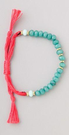 Shashi 粉紅繡線水藍寶石手鍊