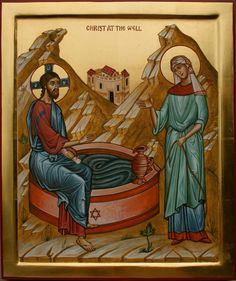 Christ at the Well - Aidan Hart Sacred Icons ..-Jesus en el pozo con la samaritana