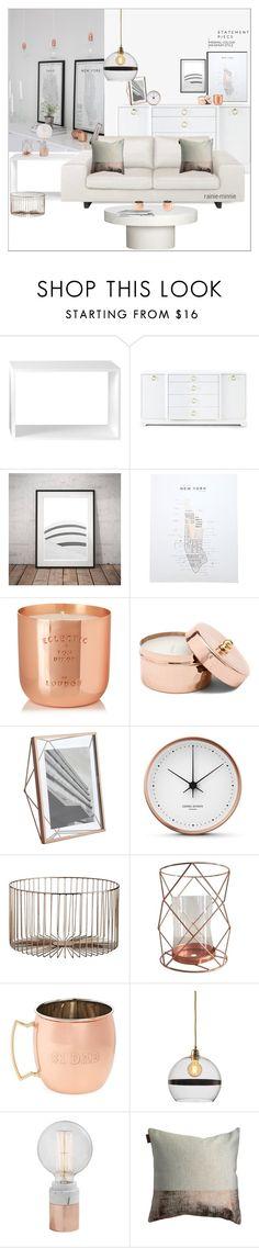 """Copper x Minimalist"" by rainie-minnie ❤ liked on Polyvore featuring interior, interiors, interior design, home, home decor, interior decorating, Muuto, Bungalow 5, West Elm and Tom Dixon"