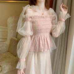 Korean Fairy Ruffled Soft Gauze Off Shoulder Pink Shirt Blouse on Storenvy Kawaii Fashion, Cute Fashion, Girl Fashion, Gothic Fashion, Fashion Women, Ulzzang Fashion, Korean Fashion, Cute Casual Outfits, Pretty Outfits
