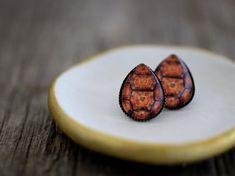 Turtle Shell Earrings, Turtle, Turtle Earrings, Tortoise, Tortoise Earrings, Turtle Studs, Turtle Jewelry, Brown Earrings, Orange Earrings