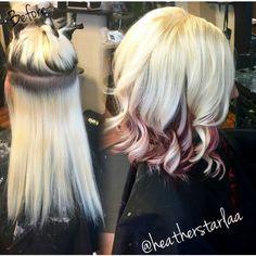 Blonde hair with burgundy peekaboos