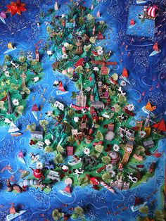 Sara Drake - 3D map of the UK - all the features are hand made and painted to commission. Mixed media