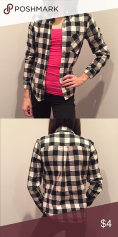 B&W flannel Checkered black & white flannel shirt from Forever21. Pink splotches give it a grungy look. Missing 1 button but perfect for throwing over a tank or tee unbuttoned! Size small, also fits XS. Tops Button Down Shirts