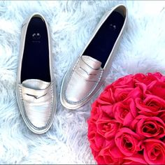 Cole Haan silver leather loafers Super chic silver leather loafers by cole Haan. Great condition! Cole Haan Shoes Flats & Loafers