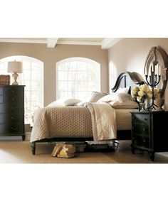 Stanley Furniture -- Portfolio European Cottage Collection -- Black, white & beige bedroom