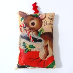 Hand Printed Vintage Inspired Christmas Pillows