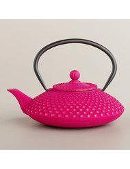 Fuchsia Hobnail Cast Iron Teapot Crafted of cast iron Includes stainless steel infuser basket Cast iron teapots are designed for brewing and serving tea; not recommended for boiling water Available in additional designs, sold separately Hand-wash only