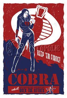 Cobra Baroness propaganda poster by Oktopolis on DeviantArt Comic Book Girl, Comic Books Art, Comic Art, Book Art, Thundercats, Girls Characters, Female Characters, Baroness Gi Joe, Nostalgia