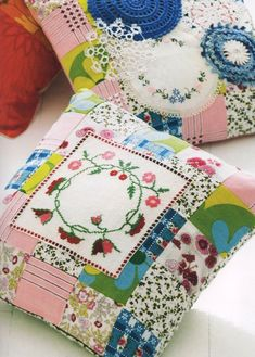 patchwork pillow with embroidery Patchwork Pillow, Quilted Pillow, Fabric Crafts, Sewing Crafts, Sewing Projects, Vintage Sheets, Vintage Fabrics, Embroidery Transfers, Embroidery Patterns