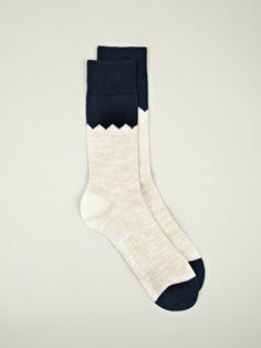 Norse Projects Mens Bjarki Blok Navy Cotton Socks | oki-ni